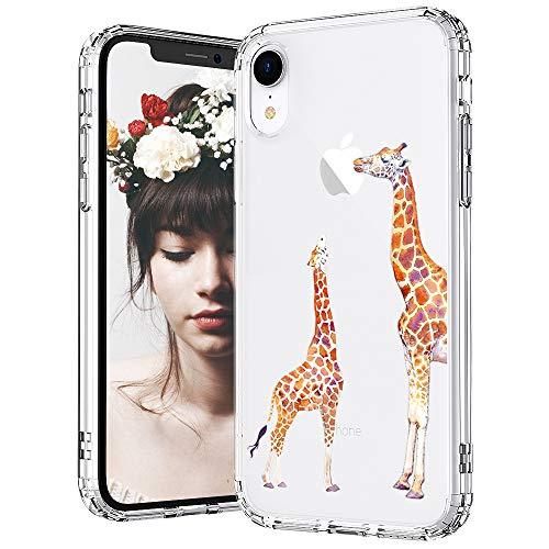 MOSNOVO iPhone XR Case, Clear iPhone XR Case, Cute Giraffe Pattern Clear Design Transparent Plastic Hard Back Case with Soft TPU Bumper Protective Case Cover for Apple iPhone XR (Cute Giraffe)
