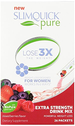 SLIMQUICK Pure Weight Loss Extra Strength Mixed Berry Drink Mix- 26 count (Berry Healthy Drink Mix)