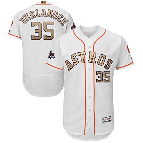 Majestic Athletic 2018 Justin Verlander Houston Astros #35 Mens Gold Program Flex Base Player Jersey – White Size 44
