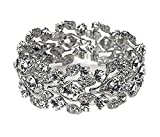 Silver Tone Imitation Diamond Cluster Wedding Bridal Formal Prom Vintage Antique Retro Deco Style Rhinestone Statement Bracelet