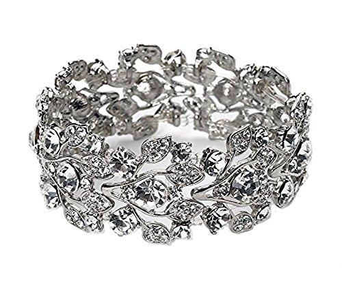 (Silver Tone Imitation Diamond Cluster Wedding Bridal Formal Prom Vintage Antique Retro Deco Style Rhinestone Statement)
