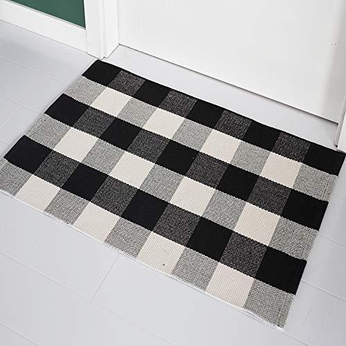 Buffalo Checkered Rug Black and Off White Plaid Area Rugs Home Decor Cotton Woven Checker Washable Doormat- (23.6''x35.4'', Black and Off - Area Checker Rug