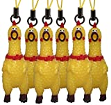 Lucore Mini 2'' Squawking Chicken Phone Charms - 6 PC Set Screaming Rubber Rooster Gag Novelty Squeaky Toy