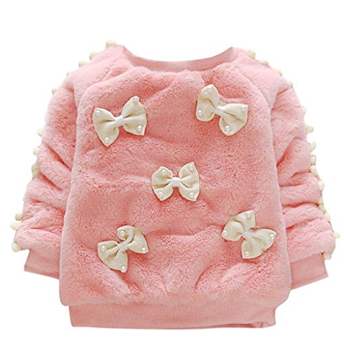 Sunhusing Baby Children's Solid Color Long Sleeve Pearl Beaded Bow Round Neck Sweater Top Clothes