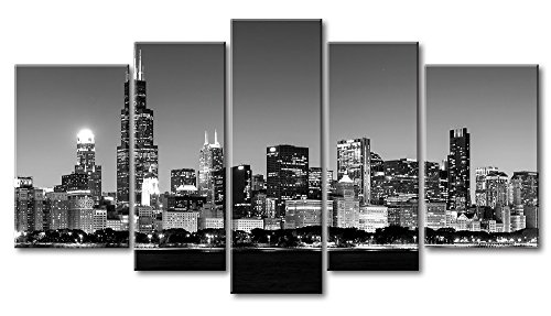 City Wall Art 5 Pieces Modern Canvas Painting Wall Art The Picture For Home Decoration Panoramic View Of Chicago Skyline At Night In Black And White Place Cityscape Print On (Master 5 Piece Place Setting)