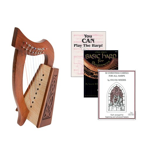 Homeschool Music Lily Harp w/Introduction to Harp Book Bundle + 50 Christmas Carols Book by Homeschooling Harps