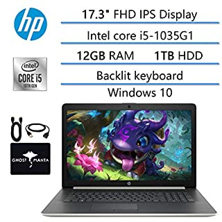 """2020 Newest HP 17.3"""" FHD Laptop for Bussiness and Student, 10th Gen Intel Quad-Core i5-1035G1 (Beat i7-7260U), 12GB RAM, 1TB HDD, DVD Writer, Backlit Keyboard, Win10, w/ GM Accessories"""