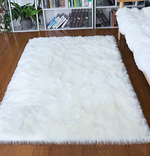 Junovo Ultra Soft Thick Fluffy Faux Sheepskin Area Rug, White Fur Rug for Living Room Bedroom Dormitory Home Decor,4ftx 6ft (Ivory White)