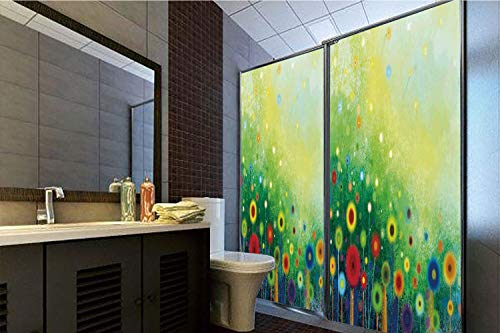 (Horrisophie dodo 3D Privacy Window Film No Glue,Watercolor Flower Home Decor,Retro Round Seasonal Blooms Floret Petal Cloudy Botany Scenery,Green,70.86