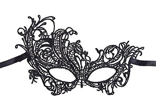 AshopZ Women's Classic Goddess Venetian Masquerade Lace Eye Mask, Phoenix_Black