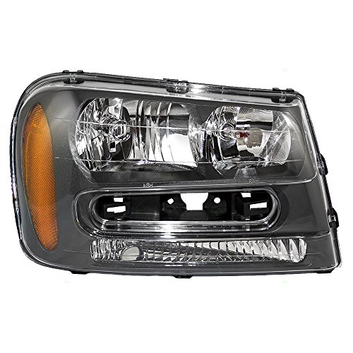 Passengers Headlight Headlamp Assembly Replacement for 02-09 Chevrolet Trailblazer & 02-06 EXT w/Full Width Grille Bar ()
