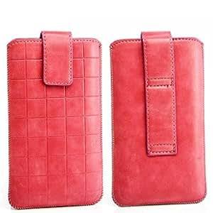 Funda Cordón cuadros Diseño con cierre magnético Sony Xperia Sola MT27i Color Rosa (M) funda Flip funda Style Case Cover Carcasa superior calcetín Bag