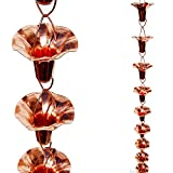 Stanwood Rain Chain Morning Glory Flower Copper Rain Chain, 8-Feet