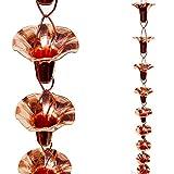 Stanwood Rain Chain Morning Glory Flower Copper Rain Chain, 8-Feet