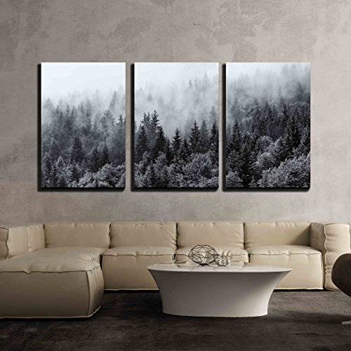 wall26 - 3 Piece Canvas Wall Art - Misty Forests of Evergreen Coniferous Trees in an Ethereal Landscape - Modern Home Decor Stretched and Framed Ready to Hang - 16''x24''x3 Panels by wall26