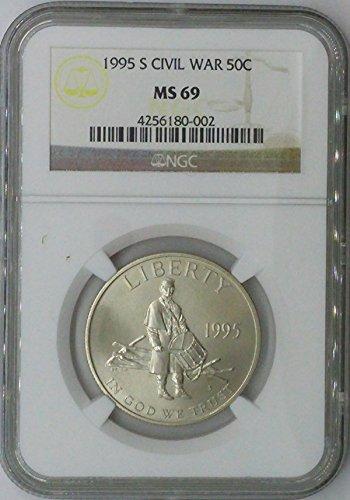 War Commemorative Half Dollars - 1995 S Modern Commemorative Half Dollar MS69 NGC Civil War Silver Half Dollar Us Coin 90%