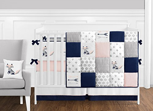 Sweet Jojo Designs 9 Piece Navy Blue, Pink, and Grey Patchwork Woodland Fox and Arrow Baby Girl Crib Bedding Set with Bumper
