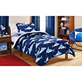 Mainstays Kids 5-Piece Bed in a Bag Coordinating Bedding Set, Twin (Blue Sharks)