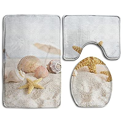 StarRevolution Seashell Non-Slip Bathroom Bath Mat Rug Set, 3 Piece Bath Set Pedestal Rug + Lid Toilet Cover + Bath Mat Decoration 3 Sets Perfect For Bath, Tub, And Shower