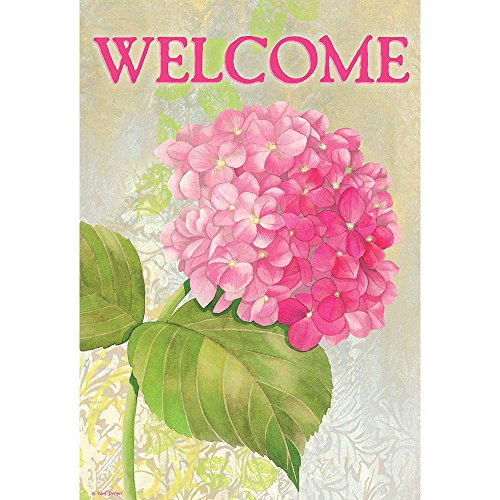Welcome Hydrangea (Welcome Bloomed Brushed Pink Hydrangea 13 x 18 Rectangular Small Garden Flag)