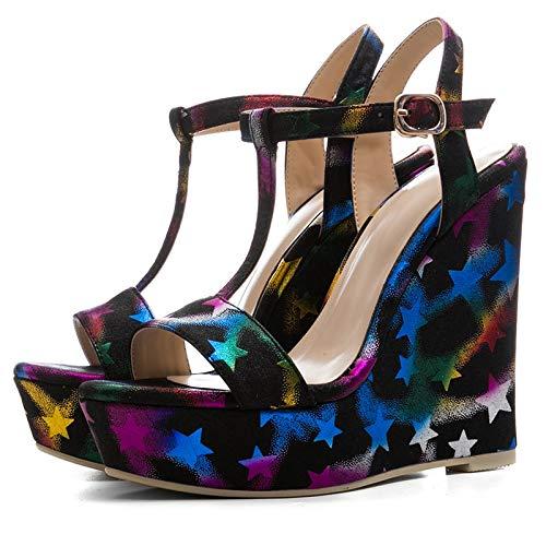 Tamaño correa Colorful Sandalias Calzado Nuevo Hoesczs Plataforma 34 Verano Altos Zapatos 41 Marca Tacones Mujer T Cuñas B5aqx7w