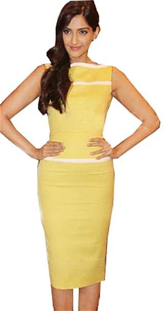 Para mujer elástico Bodycon cóctel lápiz vestidos de fiesta Midi sin mangas UK tamaño 8 amarillo