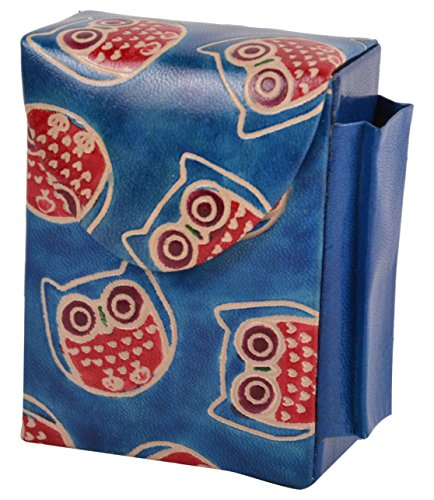 Love Cigarette Case - SAAGA Hand Painted Leather Cigarette Case / Holder for King Size Cigarettes and Lighter / Handmade : 3.75x3x1.5 inches (LxBxH) (OWL)