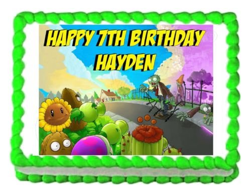 PLANTS VS. ZOMBIES edible party cake topper decoration frosting sheet birthday for $<!--$9.99-->
