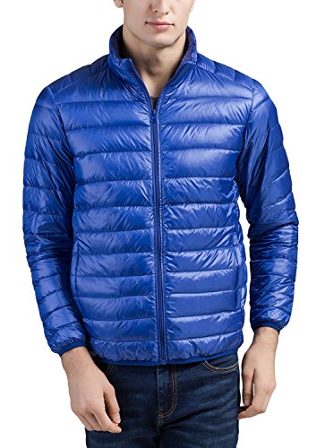 Cheering Men's Packable Down Jacket Winter Coat Acid Blue Medium