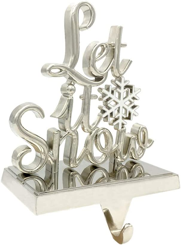 Christmas Stocking Hanger Christmas Stocking Holder Stand for Christmas Party Home Decor Let It Snow Silver Christmas Decoration for Mantel or Fireplace
