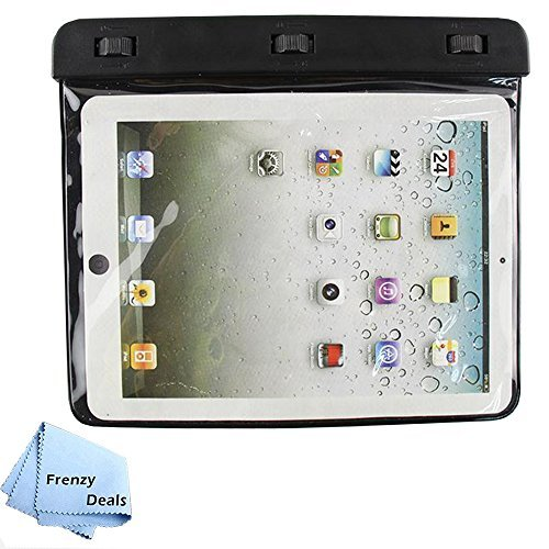 Frenzy Deals Waterproof Pouch 98ft(30m) IPX8 rated for iPad mini 1,2,3,4, Samsung Galaxy Tab, LG Pad, Lenovo and many more 8 inch Tablets + Microfiber Cloth