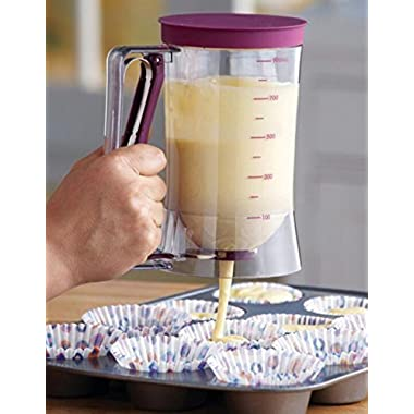 Crystallove Plastic Pancake Batter Dispenser with Measurement for Cupcake Muffin Pastry Baking Tools