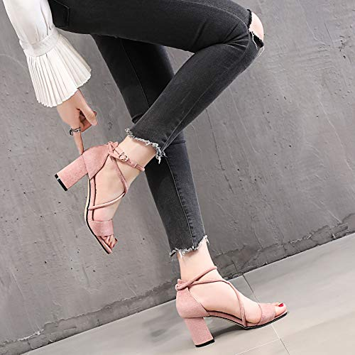 Cool Waterproof Joker 8Cm KPHY Toe Summer Middle High Shoes Heeled Eight Small Heel Black Rough Boots Women'S Heel Fresh Table Shoes Thirty 4vOq4