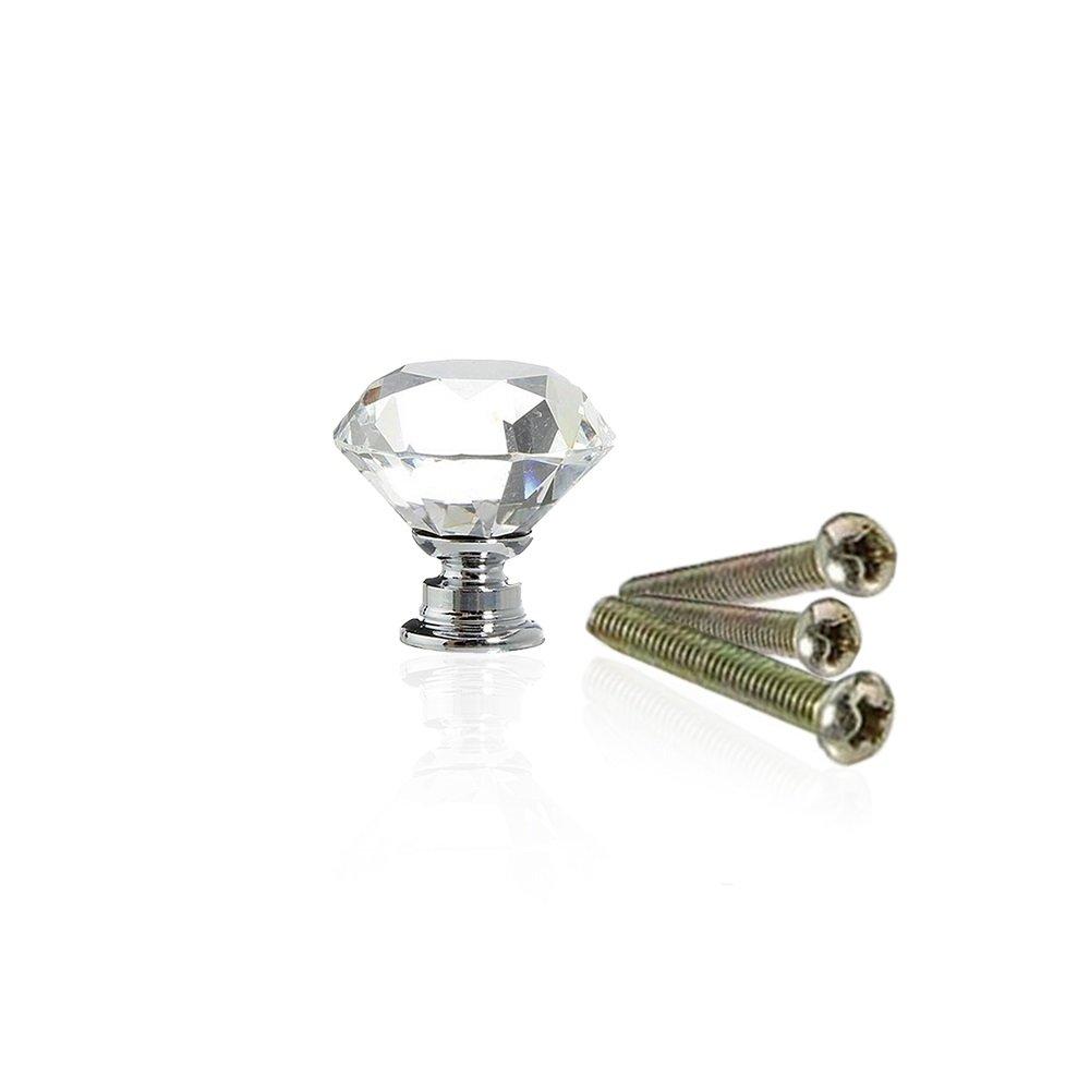 Hewnda 10 Diamond Crystal Glass 40mm Drawer Handle Caebinet Drawer Bedside Table Dresser and Chest