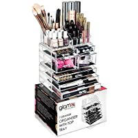GLAMSMACKED Professional Clear Acrylic 7 Drawer Cosmetic Organiser with Storage Tray – Perfect for Organising Make Up, Nail Polish, Varnish, Brush Sets, and Jewellery
