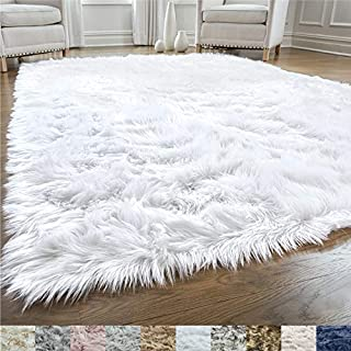 Gorilla Grip Original Premium Faux Fur Area Rug, 2 FT x 4 FT, Softest, Luxurious Carpet Rugs for Bedroom, Living Room, Luxury Bed Side Plush Carpets, Rectangle, Pure White