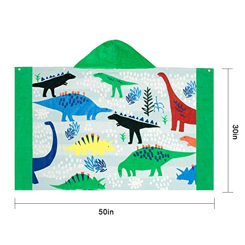 LALIFIT 100% Cotton Kids Hooded Poncho Swim Beach Bath Pool Towel for Girls/Boys(Dinosaur) by LALIFIT (Image #3)