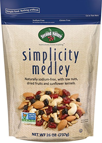 (Second Nature Simplicity Medley Trail Mix 26 oz Resealable Pouch - Naturally Sodium-Free Blend of Dried Cranberries, Almonds, Cashews, Sunflower Kernels & Sweet Blueberries - Non GMO Project Verified)