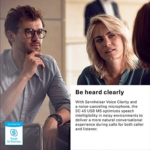 Sennheiser SC 45 USB MS (507083) - Single-Sided Business Headset | For Skype for Business, Mobile Phone, Tablet, Softphone, and PC | HD Sound & Noise-Cancelling Microphone (Black) by Sennheiser Enterprise Solution (Image #4)