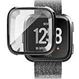 Silm for Fitbit Versa Watch Cases,Super Thin Plating TPU 360 Whole Body Screen Protector Cover (Black, Fitbit Versa)
