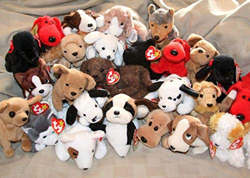 (Ty Beanie Babies Lot of 20 Assorted Dogs (6-7 inches) Including Bernie, Bruno, Bones and more - Great for Party Favors and Gifts )