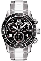 Tissot V8 Black Dial SS Leather Chronograph Quartz Male Watch T0394172605700
