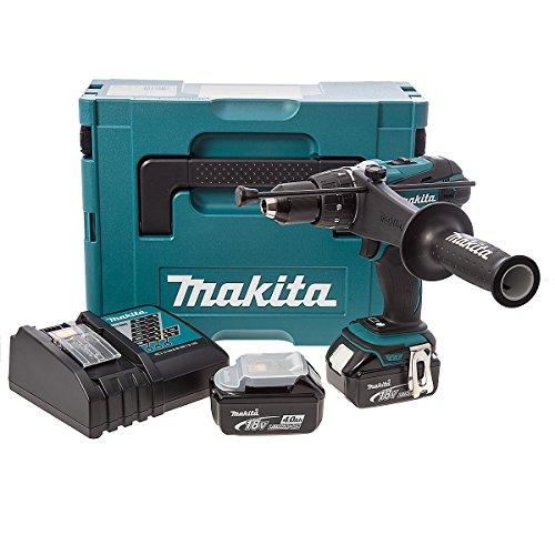 Makita Akku-Schlagbohrschrauber 18 V im Makpac mit 2 Akkus 4,0 Ah + Ladegerät