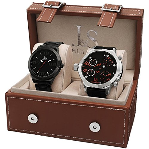 Joshua & Sons Men's JS84-1 Swiss Quartz Black and Silver Watch Set