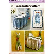 Simplicity 6134 Sewing Pattern Baby's Basket Skirt Liner Diaper Stacker Comforter Pillow Case