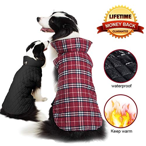 Cheap TPYQdirect Dog Jacket Waterproof Coat Windproof Pet Vest Warm Puppy Clothes Reversible British Style Plaid Winter Coats Cold Weather Jackets Sweater for Extra Small Dogs, Red XS