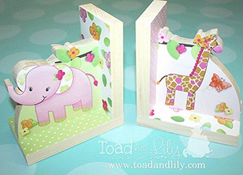 Girly Jungle Animal Safari Kids Bedroom Baby Nursery Wood Bookends BE0011