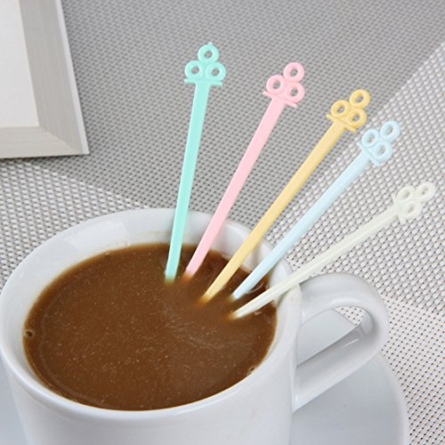 MXY Home Mini Food Grade Plastic Coffee Tea Beverage Stirrers Spoon Colorful Disposable Sticks Bar Tool 60 Counts Pack Of 2 Bags by MXY (Image #4)