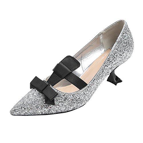 Avec Et Chaussures Couleur Lger Talons Pointues 36 Argent Confortables Pure Hauts Des Pour Chat Femmes rqxwOCZIr