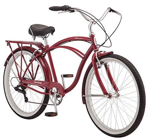 - Schwinn Sanctuary 7 Comfort Cruiser Bike, Featuring Retro-Styled 18-Inch/Medium Steel Step-Over Frame and 7-Speed Drivetrain with Front and Rear Fenders, Rear Rack, and 26-Inch Wheels, Red